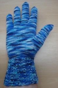 Handschoen met koffieboontje, handpalm